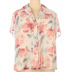 JNY Collection Floral Short Sleeve Blouse Size 24